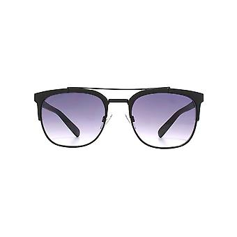 French Connection Double Bridge Square Sunglasses In Matt Black