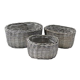 Ovale antieke Wash Wicker Planter Set 3