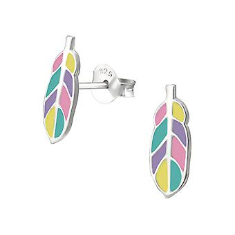 Feather - 925 Sterling Silver Colourful Ear Studs