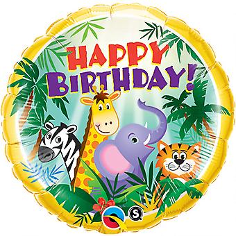 Qualatex 18 Inch Round Happy Birthday Jungle Animal Friends Design Foil Balloon