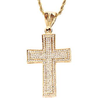 Iced out bling hip hop chain - PAVE CROSS gold