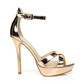 SANDY Bronze/Gold Metallic High Heel Platform Cross Over Sandals with Ankle Strap