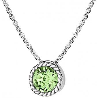 IBB London August Birthstone Swarovski Crystal Necklace - Silver/Light Green