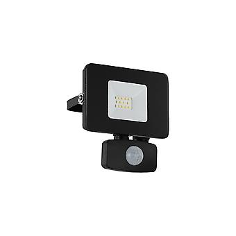 Eglo Budget Slimline 10W Black LED Floodlight With Movement Sensor
