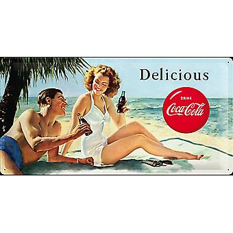 Coca Cola Delicious Large Embossed Steel Sign (500Mm X 250Mm)