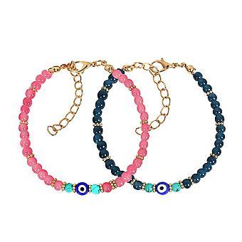 Onde øjne beskyttelse kærlighed par amuletter sæt Ocean blå Pink simulerede turkis charme armbånd