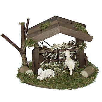 Stall shelter with feed rack and 2 sheep for Nativity crib accessories