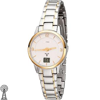 JOBO ladies wristwatch radio radio clock stainless steel bicolor mens watch gold plated date
