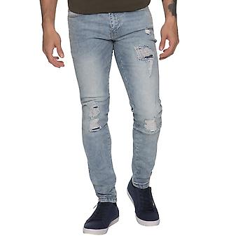 Mens  Rip & Repaired Super Skinny Stretch Denim Jeans Light Stonewash | Enzo Designer Menswear