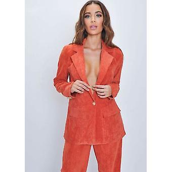 Velluto a coste su misura Blazer giacca arancione