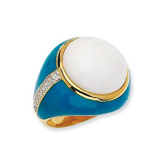 Gold-Flashed Sterling Silver Enamel Blue Enam Simul. Wht Agate and Cubic Zirconia Ring - Ring Size: 6 to 8