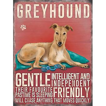 Medium Wall Plaque 200mm x 150mm - Cream Greyhound