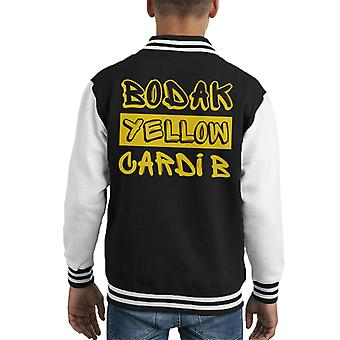 Cardi B Bodak Yellow Song Title Kid's Varsity Jacket