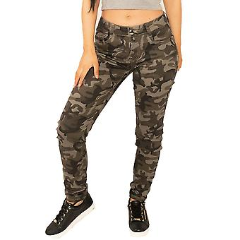 Slim Camouflage Trousers - Dark Green