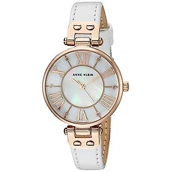 Anne Klein Women's Glitter Accented Leather Strap Watch AK-2718RGWT