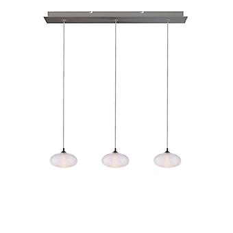 Brillcool Luna Nickel Three Pendant  Rectangular Canopy