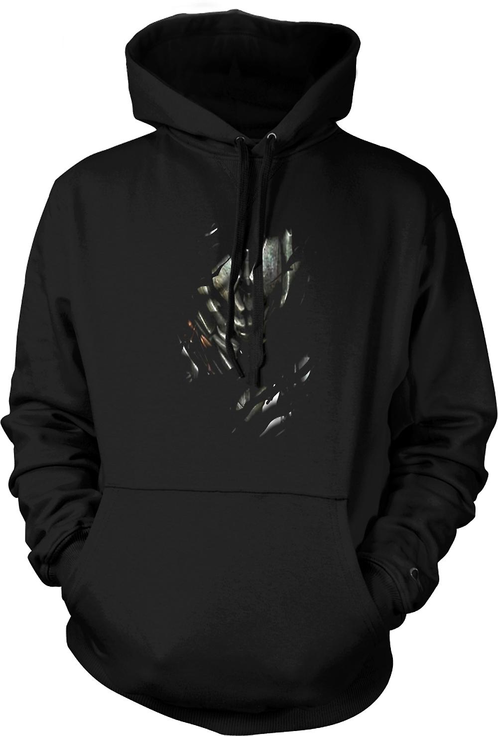 Mens Hoodie - Megatron Ripped Design - Transformers Inspired