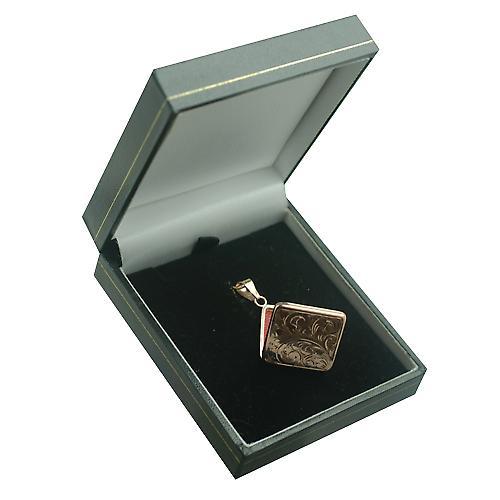 9ct Rose Gold graviert 22mm flach rautenförmige Medaillon