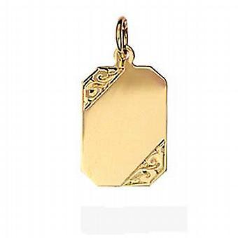 9ct Gold 18x12mm hand engraved rectangular Disc