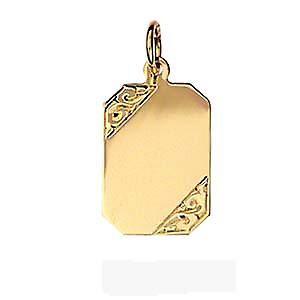 9ct Gold 18x12mm hand engraved rectangular disc