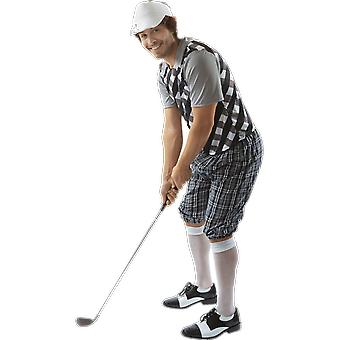 Mens Black & White Pub Golf Sport Stag Night Fun Fancy Dress Costume