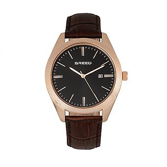 Breed Louis Leather-Band Watch w/Date - Rose Gold/Black