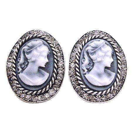 Looking For Gift Find Classy Jewelry Cameo Earrings w/ Crystals