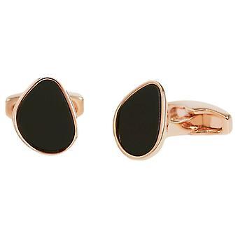 Simon Carter Organic Pebble Onyx and Rose Gold Cufflinks - Black/Rose Gold
