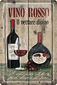 Vino Rosso embossed steel sign