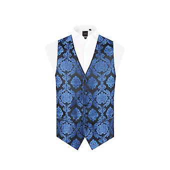 Dobell Boys Blue Victorian Jacquard Waistcoat Regular Fit