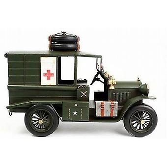 Antique Style Vintage Green Ambulance Model 22cm X 32cm