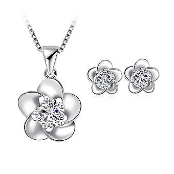 925 Sterling Silver Dainty Elegant Flowers Design Solid Jewellery Set