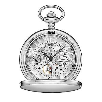 Silver case & matching face pocket watch & keep chain