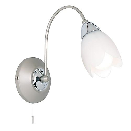 Endon 124-1 Switched Satin Chrome Single Wall Light With Glass