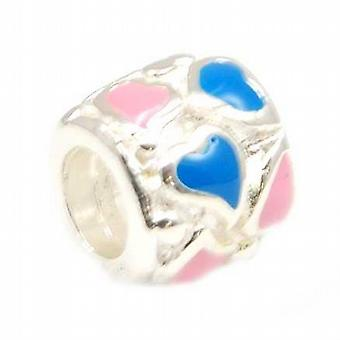 TOC BEADZ 925 Silver Enamel Pink & Blue Hearts 7mm Bead