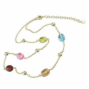 925 Silver Gold Plate Necklace  5 Multi Colour Oval Crystals  18 Inch Chain
