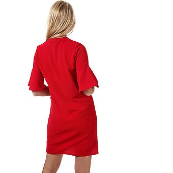 Womens Daisy Street Fluted Sleeve Dress In Red