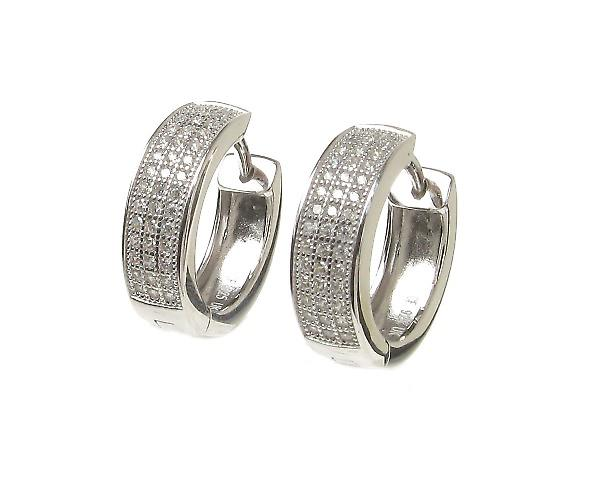 Cavendish French CZ Classic Sterling Silver Hoop Earring