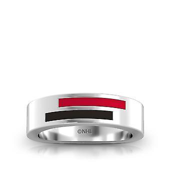 Calgary flammer asymmetrisk emalje ring i rød og sort