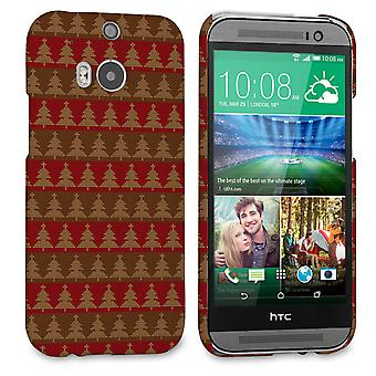 Caseflex HTC One M8 Christmas Tree Knit Jumper Hard Case Brown Red