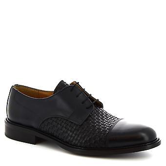 Chaussures Leonardo Chaussures Chaussures à lacets faites à la main pour hommes en cuir de veau tissé bleu