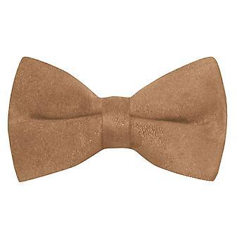 Luxury Golden Brown Suede Bow Tie