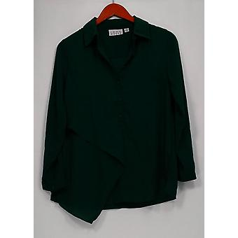Joan Rivers Classics Collection Women's Top XXS Flowy Button Green A301269