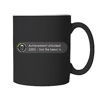 Achievement Unlocked Got The Beers In Gaming Mug | Gamer Graphics Console PC Shooter RPG Free Roam | Arcade 8-bit 16-bit Gamer Gaming Simulator Cheat | Drinking Cup Gift