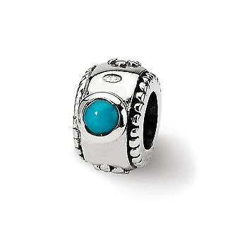 925 Sterling Silver Antique finish Reflections SimStars Created Simulated Turquoise Cubic Zirconia Bead Charm