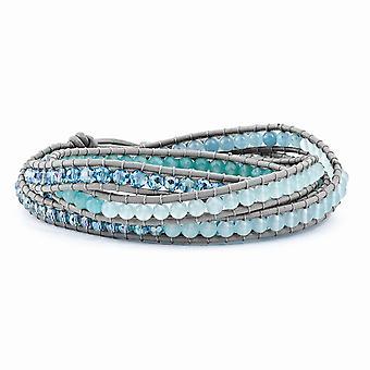 Crystal und blau Quarz Perlen Multi-Wickel Lederarmband