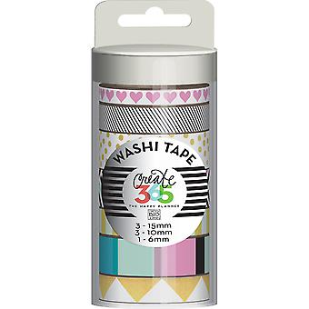 Create 365 Washi Tape 7/Pkg-Black & White WTT-09