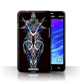 STUFF4 Case/Cover for Samsung Z1/Z130/Blue/Green/Tribal Pinstripe