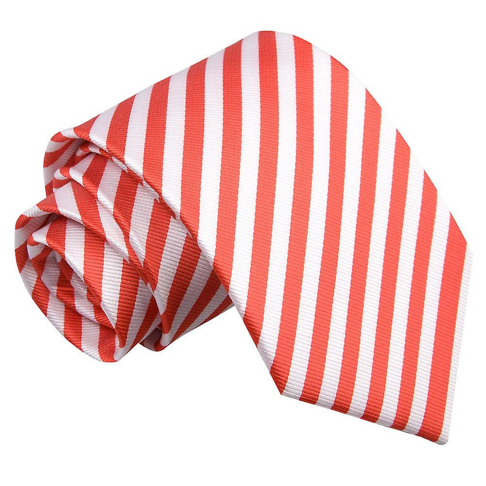 Thin Stripe White & Red Tie