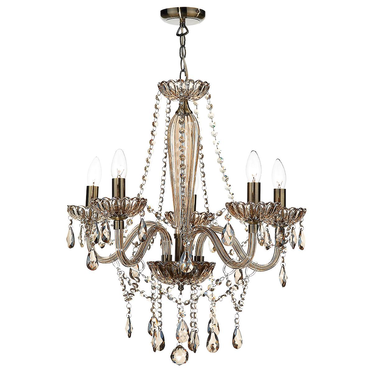 Dar RAP0506 Raphael Traditional 5 Arm Chandelier With Champagne Crystal